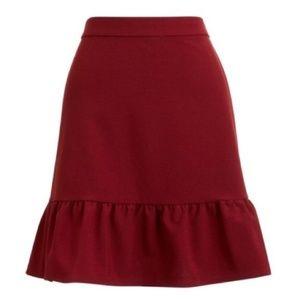 J. Crew Skirts - J. CREW Mercantile Burgundy Flounce Mini Skirt